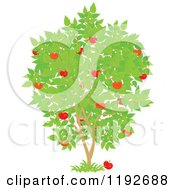 Cartoon Of A Fruit Tree With Red Apples And Green Leaves Royalty Free Vector Clipart