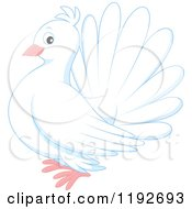 Cartoon Of A Cute White Dove Or Pigeon Royalty Free Vector Clipart