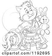 Cartoon Of An Outlined Puss In Boots Holding Up A Stuffed Rabbit Royalty Free Vector Clipart by Alex Bannykh