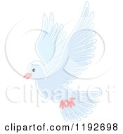 Cartoon Of A Cute White Dove Or Pigeon Flying Royalty Free Vector Clipart