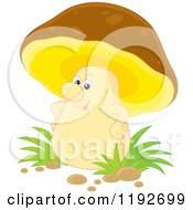 Cartoon Of A Happy Brown And Yellow Mushroom Character With His Hands On His Hips Royalty Free Vector Clipart