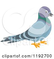 Cartoon Of A Cute Happy Pigeon Royalty Free Vector Clipart