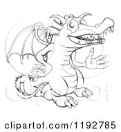 Cartoon Of An Outlined Happy Dragon Presenting Royalty Free Vector Clipart