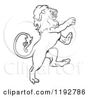 Clipart Of A Black And White Leo Lion Zodiac Astrology Sign Royalty Free Vector Illustration