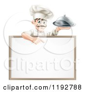 Cartoon Of A Happy Male Chef Holding A Platter And Pointing Down At A White Board Royalty Free Vector Clipart
