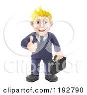 Happy Blond Businessman Holding A Thumb Up