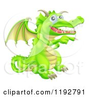 Cartoon Of A Happy Green Dragon Pointing Royalty Free Vector Clipart