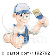 Cartoon Of A Happy Male House Painter Holding A Brush And A Thumb Up Royalty Free Vector Clipart