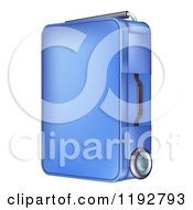 Cartoon Of A Rolling Blue Suitcase Royalty Free Vector Clipart