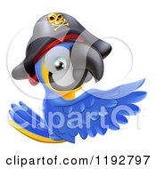 Cartoon Of A Blue And Gold Macaw Pirate Parrot Presenting A Sign Royalty Free Vector Clipart