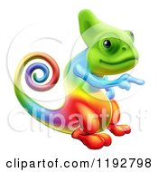 Cartoon Of A Rainbow Chameleon Lizard Pointing Royalty Free Vector Clipart