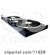 DJs Turntables With Vinyl Records Clipart Illustration
