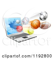 Clipart Of A Laptop Computer And Sports Balls Flying From The Screen Royalty Free Vector Illustration by AtStockIllustration