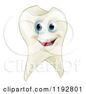 Cartoon Of A Smiling Happy Tooth Mascot Royalty Free Vector Clipart by AtStockIllustration