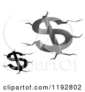 Clipart Of Black And White And Grayscale Dollar Symbols Debt Fissures And Cracks Royalty Free Vector Illustration