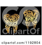 Clipart Of Golden Floral Swirl Teeth On Black Royalty Free Vector Illustration