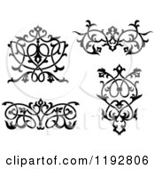 Clipart Of Black And White Ornate Floral Victorian Design Elements Royalty Free Vector Illustration