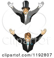 Clipart Of A Cheering Happy Groom Shown Wearing A Top Hat And Gloves And Without Royalty Free Vector Illustration