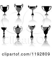 Clipart Of Silhouetted Trophy Cups And Urns And Reflections 4 Royalty Free Vector Illustration