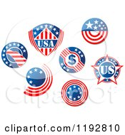 Clipart Of Round American Stars And Stripes Labels 2 Royalty Free Vector Illustration