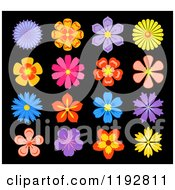 Clipart Of Colorful Flowers On Black 2 Royalty Free Vector Illustration