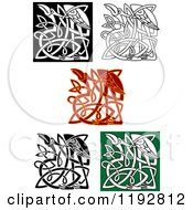 Clipart Of Celtic Heron Or Stork Knots Royalty Free Vector Illustration by Vector Tradition SM