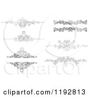 Clipart Of Black And White Ornate Swirl Border Design Elements Royalty Free Vector Illustration