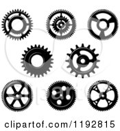 Clipart Of A Black And White Gear Cog Wheels 4 Royalty Free Vector Illustration