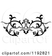 Clipart Of A Black And White Ornate Floral Victorian Design Element 2 Royalty Free Vector Illustration
