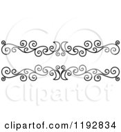 Clipart Of A Black And White Ornate Swirl Border Design Element 2 Royalty Free Vector Illustration
