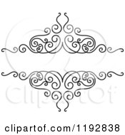 Clipart Of A Black And White Ornate Swirl Design Element Royalty Free Vector Illustration