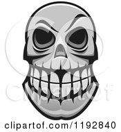 Poster, Art Print Of Grayscale Monster Skull 2