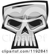 Poster, Art Print Of Grayscale Monster Skull 3