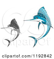 Clipart Of Jumping Blue And Grayscale Marlin Fish Royalty Free Vector Illustration