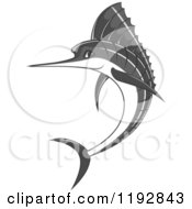 Clipart Of A Jumping Grayscale Marlin Fish Royalty Free Vector Illustration