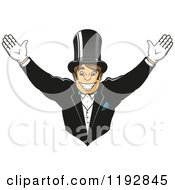Clipart Of A Cheering Happy Groom Wearing A Top Hat And Gloves Royalty Free Vector Illustration