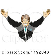 Clipart Of A Cheering Happy Groom Royalty Free Vector Illustration