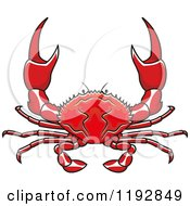 Clipart Of A Red Crab With Pincers Royalty Free Vector Illustration