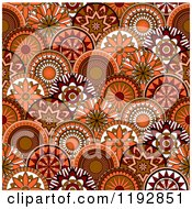Clipart Of A Seamless Pattern Of Retro Orange And Brown Circle Flowers Royalty Free Vector Illustration by Vector Tradition SM