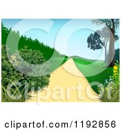Clipart Of A Path With Shrubs Trees And Hills Royalty Free Vector Illustration by dero
