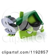 Clipart Of A 3d Green House Wearing Sunglasses Holding A Dollar Symbol And A Thumb Up Royalty Free CGI Illustration