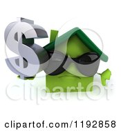 Clipart Of A 3d Green House Wearing Sunglasses Holding A Dollar Symbol And A Thumb Down Royalty Free CGI Illustration