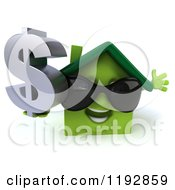 Clipart Of A 3d Happy Green House Wearing Sunglasses And Holding A Dollar Symbol Royalty Free CGI Illustration