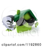 Clipart Of A 3d Happy Green House Wearing Sunglasses And Holding A Euro Symbol And A Thumb Down Royalty Free CGI Illustration