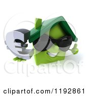 Clipart Of A 3d Happy Green House Wearing Sunglasses And Holding A Euro Symbol And A Thumb Up Royalty Free CGI Illustration