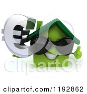 Clipart Of A 3d Smiling Green House Wearing Sunglasses And Holding A Euro Symbol And A Thumb Up Royalty Free CGI Illustration