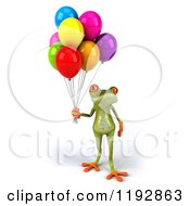 Clipart Of A 3d Springer Frog With Colorful Balloons Royalty Free CGI Illustration