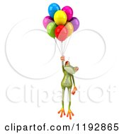 Clipart Of A 3d Springer Frog Floating With Colorful Balloons Royalty Free CGI Illustration by Julos