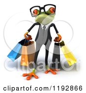 Clipart Of A 3d Formal Springer Frog Wearing Glasses And Carrying Shopping Bags Royalty Free CGI Illustration