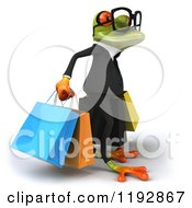 Clipart Of A 3d Formal Springer Frog Wearing Glasses And Carrying Shopping Bags 2 Royalty Free CGI Illustration